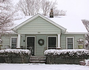 my house with snow