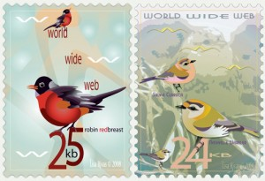 25 and 24 Bird e-stamps by Lisa Rivas