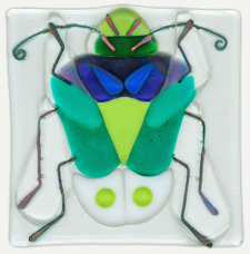 """Stinkbug"" - fused glass tile by Lisa Rivas"