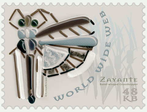 """ZAYANTE Band-winged Grasshopper"" e-Stamp by Lisa Rivas"