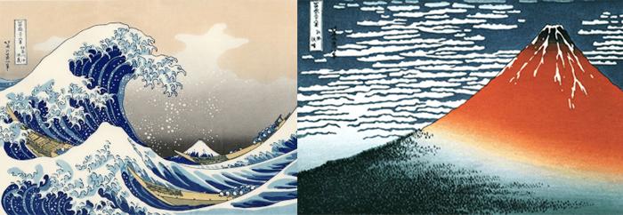 "Katsushika Hokusai - ""The Great Wave of Kanagawa"" and ""Red Fuji"""