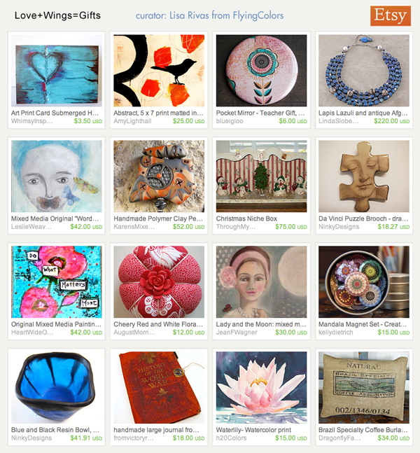 Love + Wings = Gifts, an Etsy Treasury