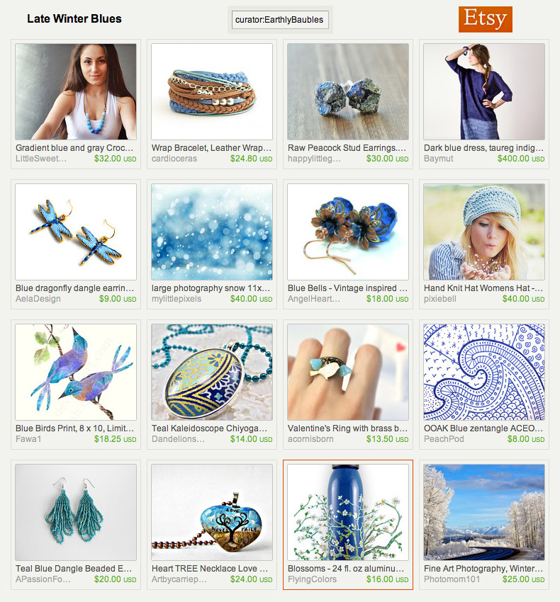 Late Winter Blues an Etsy Treasury by Earthly Baubles