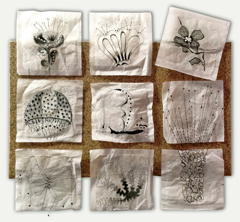 9 TeaBag Drawings by © Lisa Rivas