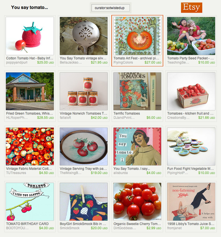 """You say tomato"" an Etsy treasury"