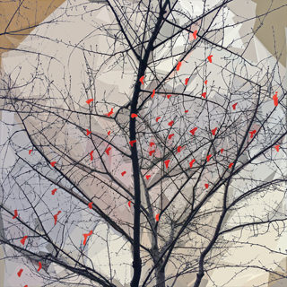 Red Hearts inTree by Lisa Rivas