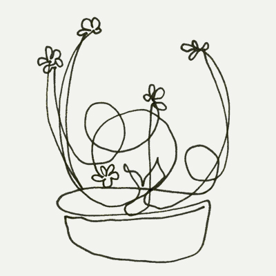 Ikebana (one-liner sketch) by Lisa Rivas