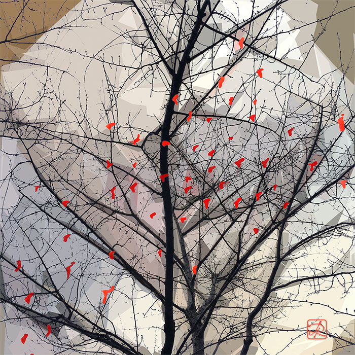 Red Heart Tree - Collage © Lisa Rivas