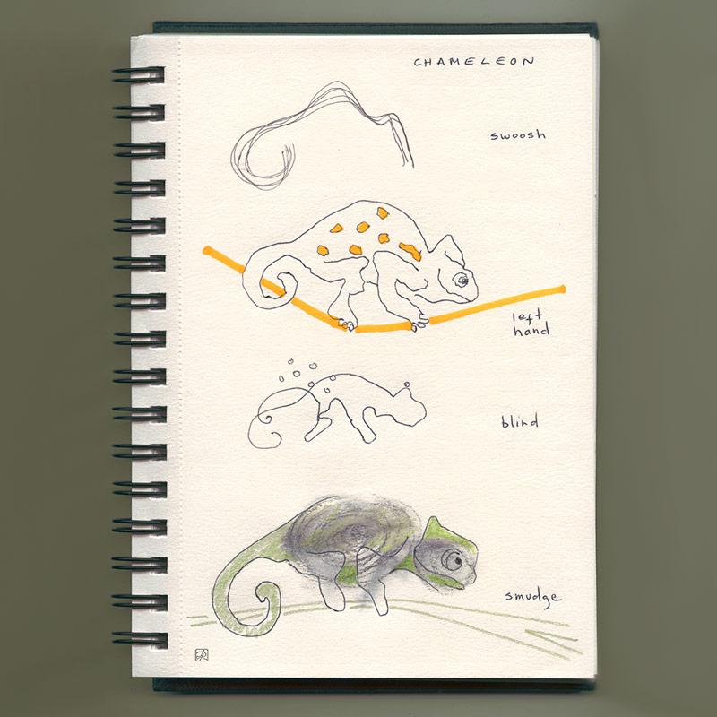 Chameleon • making left hand, blind, smudge sketches - pen & crayons